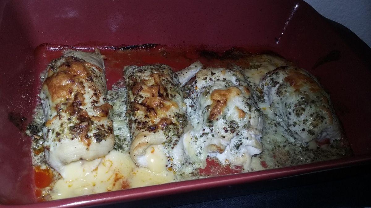 Roulé de dinde au chorizo et au fromage gratinée