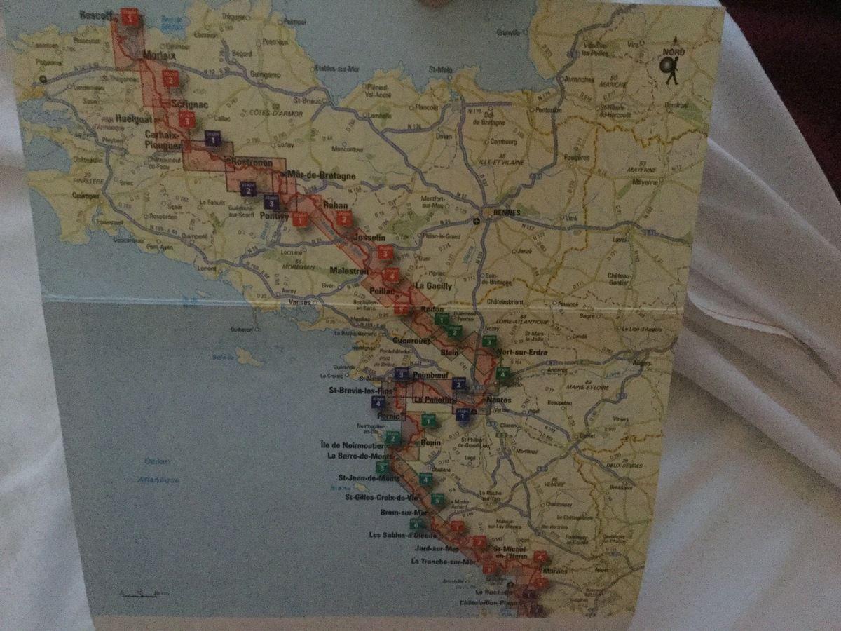 Voici le plan de cette fameuse Vélodyssée que nous avons commencé à Bordeaux.