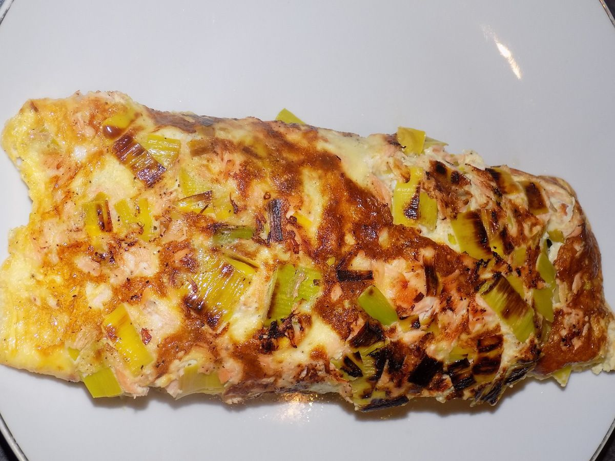 Omelette poireau-saumon dukan