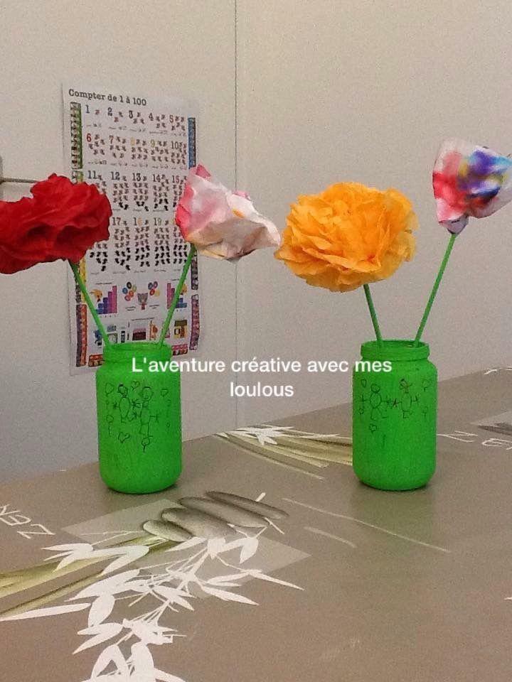 Fleurs en papier de soie et avec des filtres à café