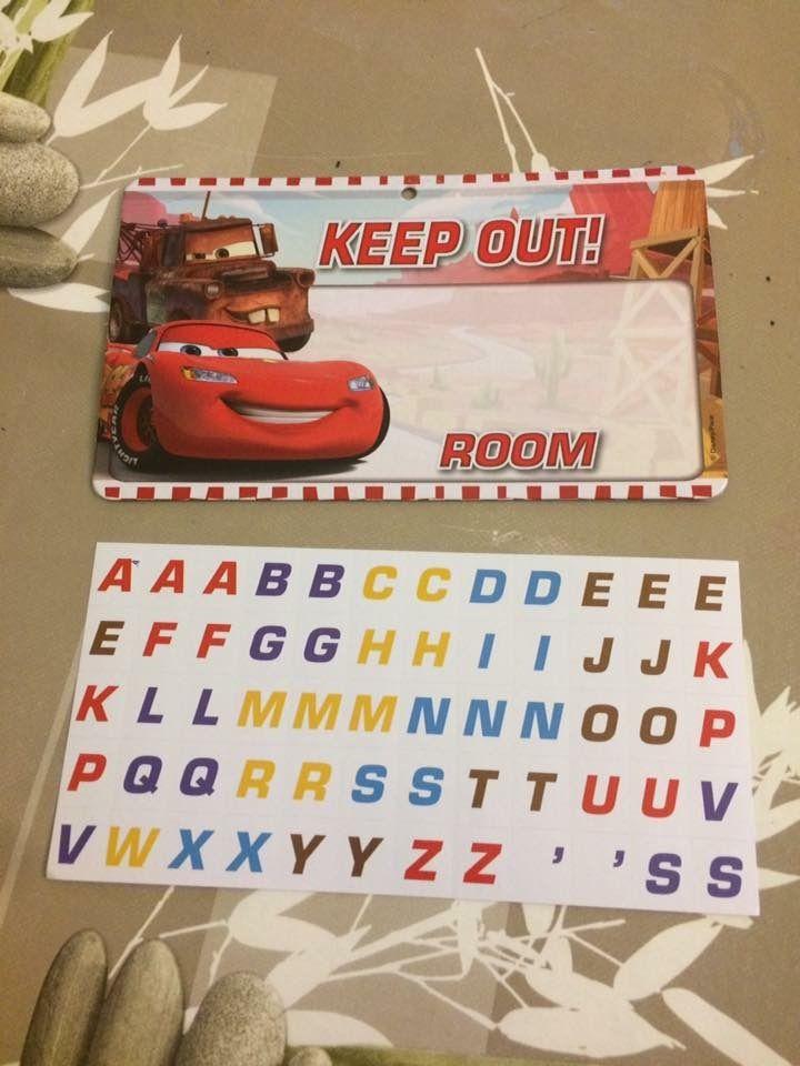 Plaque de porte Cars avec autocollants Zeeman