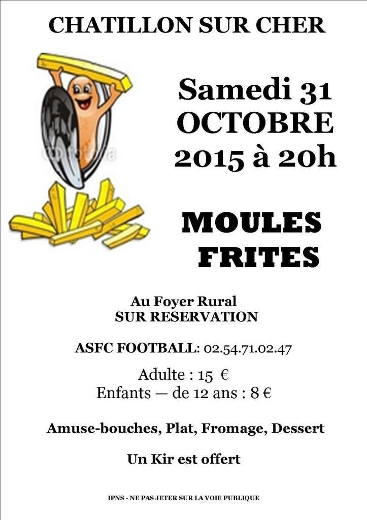 Le Club organise une Soirée Moules/Frites le Samedi 31 Octobre 2015 à 20h!!Venez nombreux! On compte sur vous pour s'amuser!!