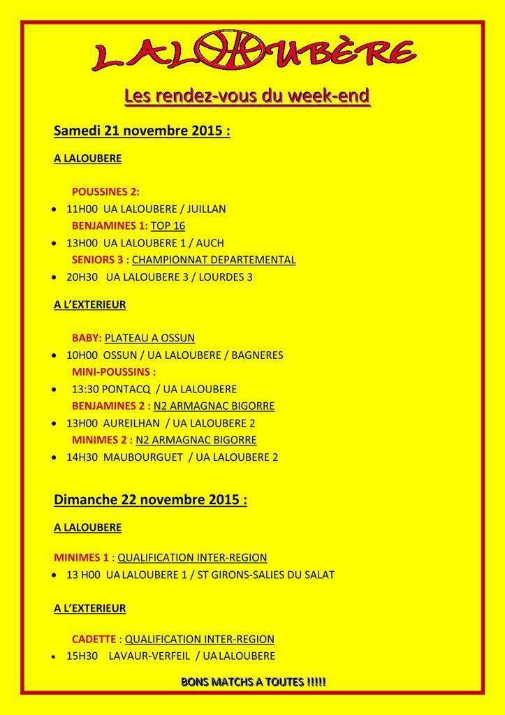 programme 21 et 22 novembre UAL Basket Laloubere