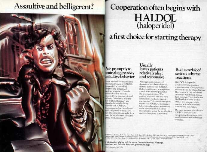"""Image : affiche publicitaire pour l'Haldol® : à gauche la peinture d'un homme Noir en colère, le poing à moitié levé, avec en arrière fond un décor urbain enflammé. À droite le titre : '' La coopération commence souvent avec l'Haldol®, un choix de premier ordre pour entamer une thérapie"""", suivi d'un texte explicatif sur les propriétés de ce produit."""