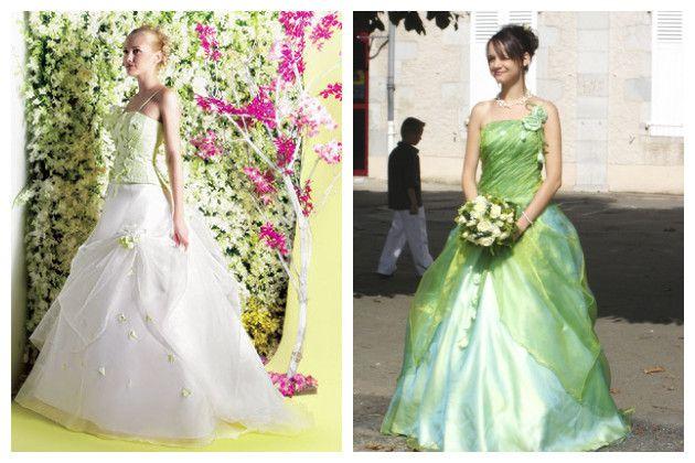 Robe de mariee blanche verte