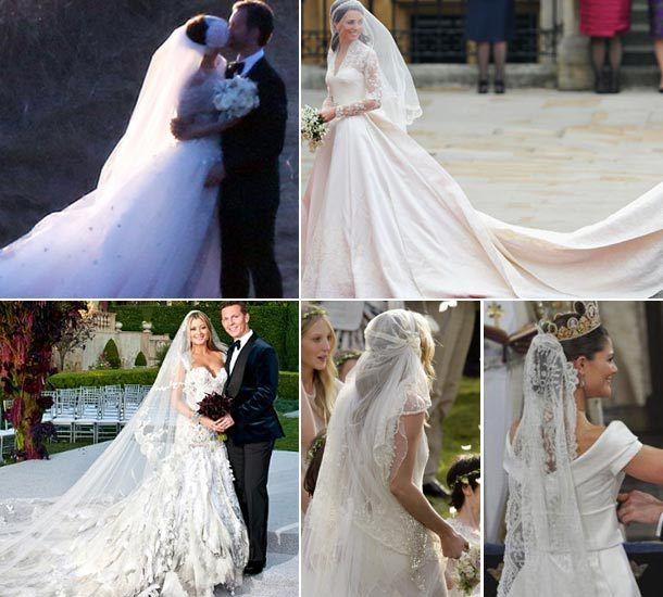 Robes de mariage mémorables: longues traînes et voiles