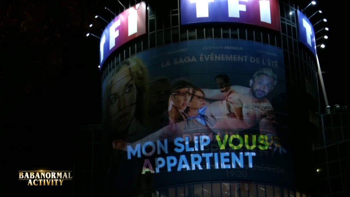 Cyril Hanouna rétroprojecteur sur la tour de TF1