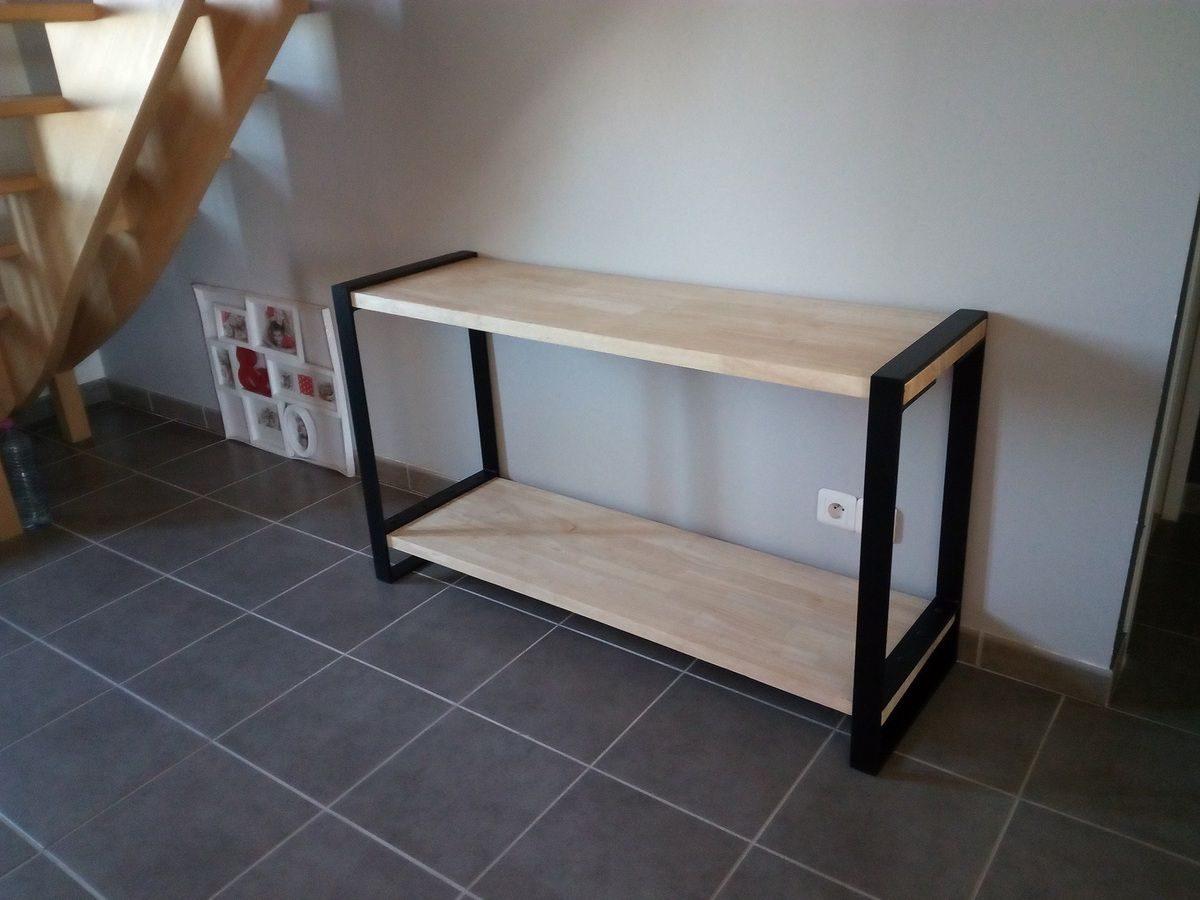 Console bois métal style épuré - Réalisation de meubles en bois et ...