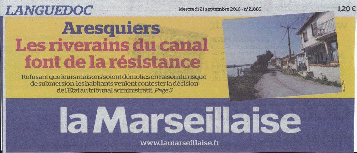 La Une de La Marseillaise du mercredi 21 septembre 2016