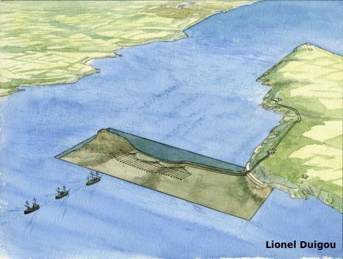 Schéma de la ligne de torpilles du goulet de Brest entre la batterie de Cornouaille et la roche Mengant