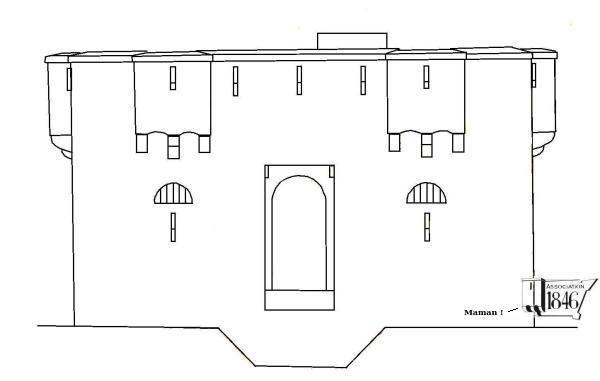 Façade de corps de garde crénelé pour 20 hommes du type de 1846 avec quatre de ses huit bretèches visibles