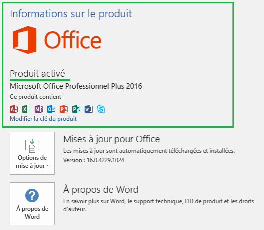 Comment activer l'office 2016 Pro