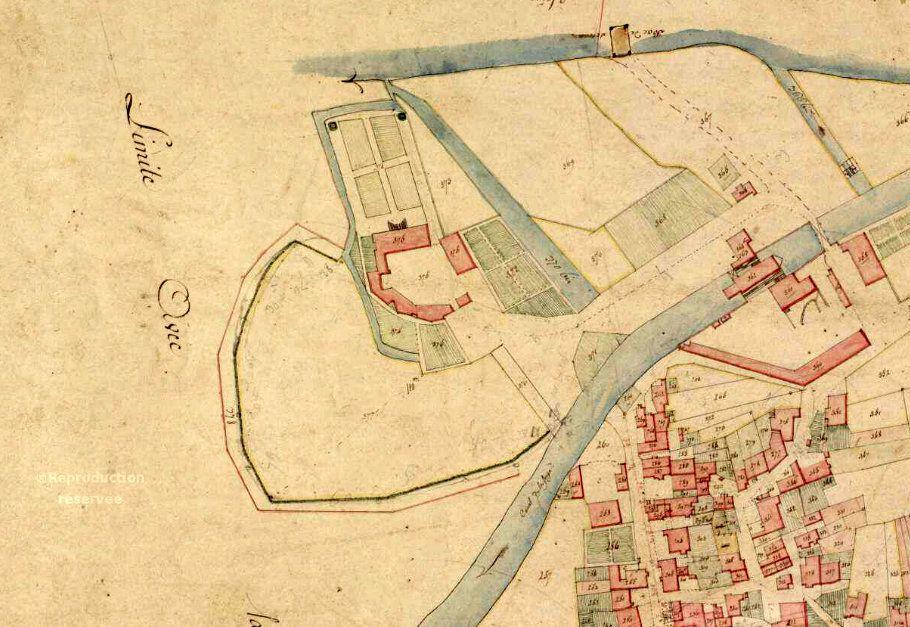 Le château avec son jardin à la française s'ouvrant sur la Saône. Cadastre napoléonien.