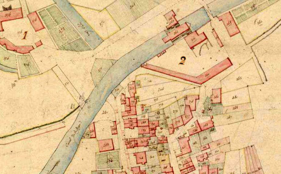 Le village, le château (1), l'usine (2) cadastre napoléonien.