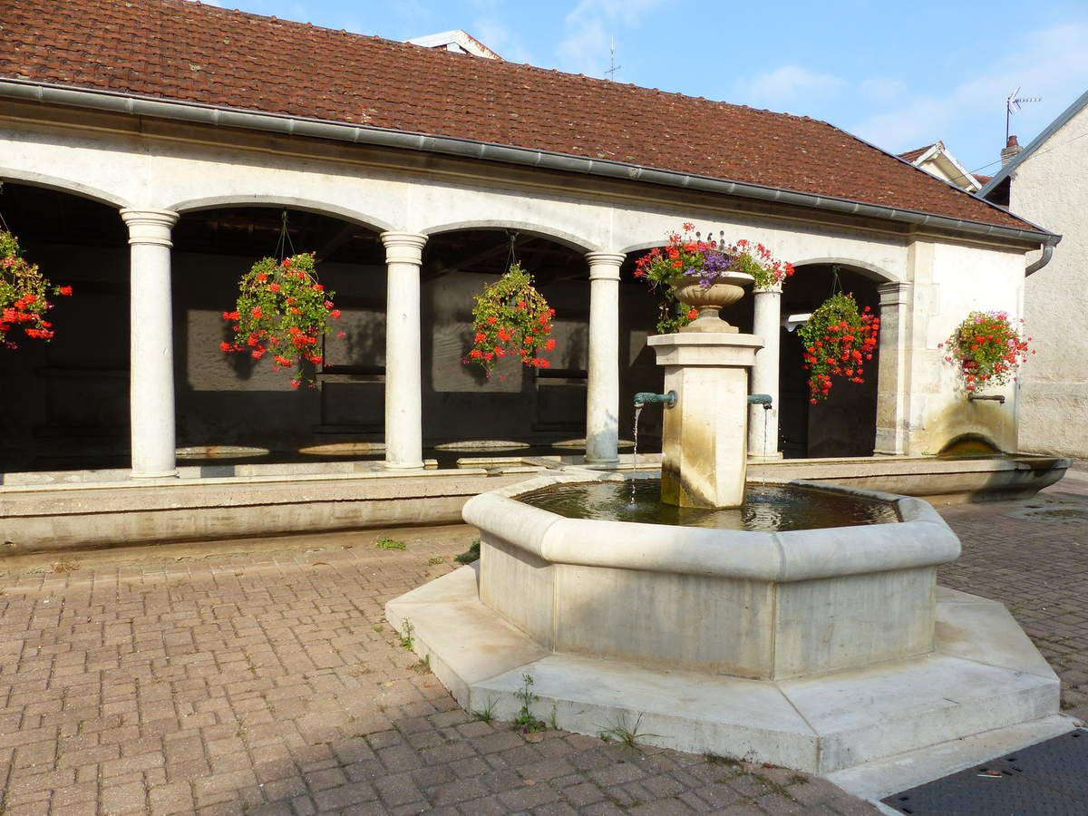 Très belle fontaine lavoir, bien restaurée, au centre du village sur la place Michel VAUTROT .Cet ensemble orne la Place Michel Vautrot, baptisée ainsi en témoignage de sympathie à l'ancien arbitre international de football.