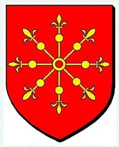 Blasons: Duché d'Athènes Maison De la Roche,  famille de Ray, ordre du temple. Mémorial Othon de Ray au pied du château