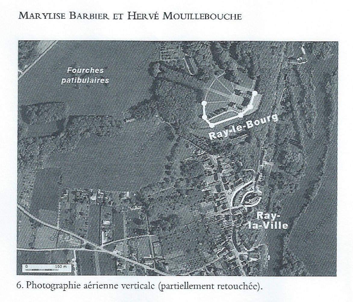Plan du Bourg de Ray ( château) de Ray la ville ( village actuel) et des fourches patibulaires.MB/HM