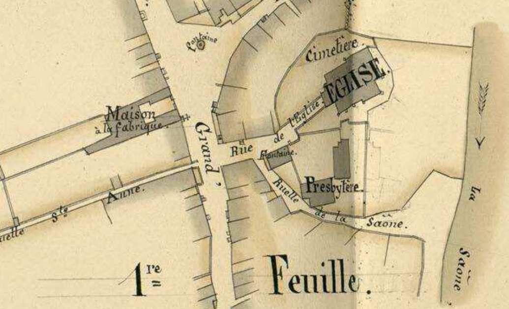 """1 Plan 1843 AD70. 2 à 5 Croix et niche """" de la Mairie"""".6 à 10 croix """" de l'église"""" 1603.11 niche Grande Rue."""