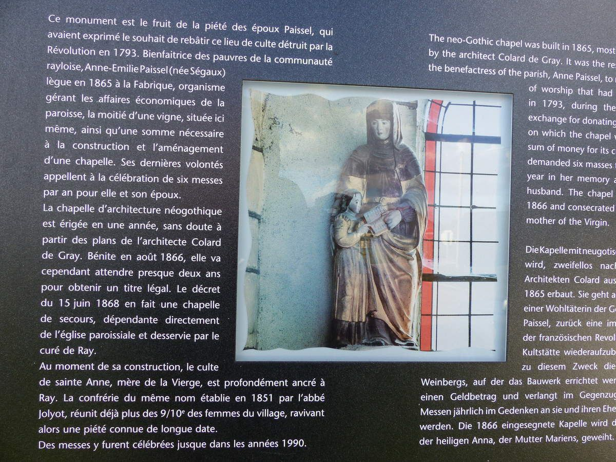 1 cpa 1911. 2 Plan Chapelle AD70. 3 Statue de Sainte Anne et la Vierge Marie. 4. Panneau explicatif sur site Photo P.Mathie. 5-6 -8  photos P.Mathie. Photo 7 Alain Mey.