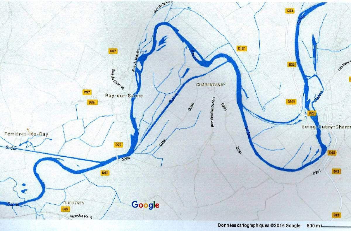 Carte Google. Dérivation de la Saône entre Soing et Charentenay à l'Est et Charentenay et Ray au centre.