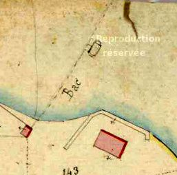 1.et 2 Adjudication du nouveau bac en 1800.(ADHS) 3 et 4 Cadastre Napoléonien ( ADHS) 5. Cpa un bac à Traille vers 1900 sur le Rhône. Clichés P.Mathie
