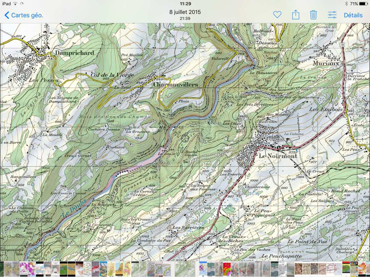 Extrait de carte de ma région d'enfance ( Le Noirmont, avec le Doubs, rivière frontière avec le Plateau de Maîche (F)