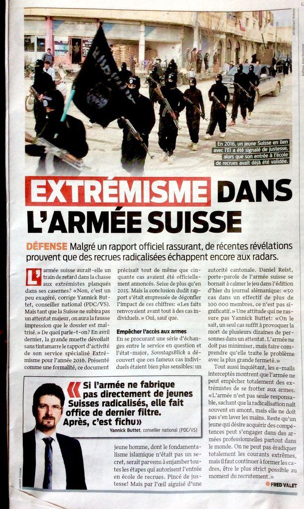 L'Armée Suisse ... Quels  risques avec des membres éventuellement radicalisés?