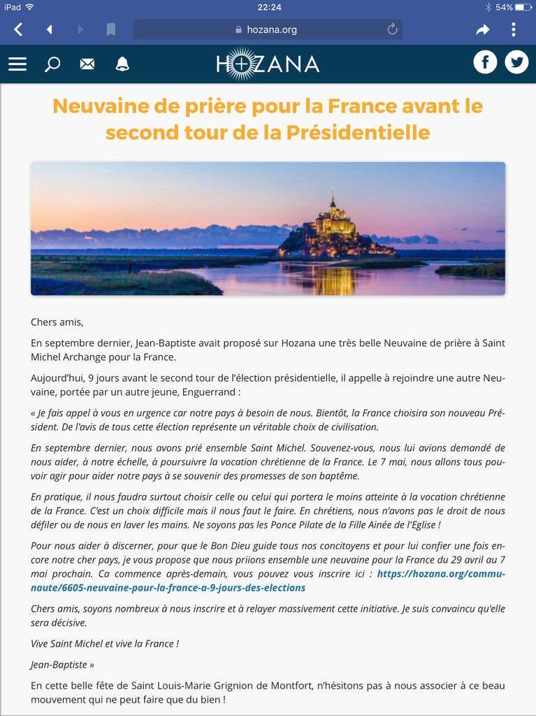 Neuvaine de prière pour la France avant le second tour de la Présidentielle