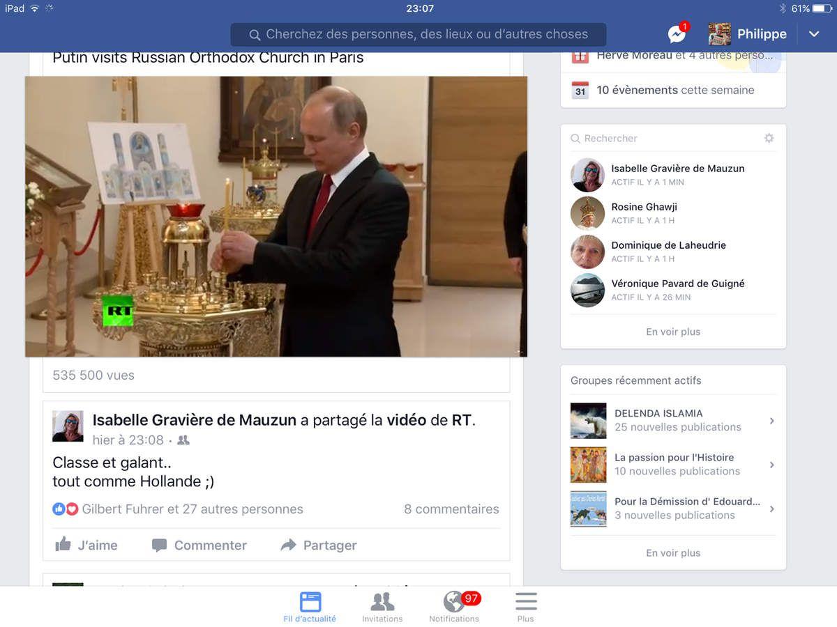 Visite du President Poutine au Nouveau Centre orthodoxe de Paris