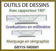 regle de geometrie publicitaire avec rapporteur 360 degres GO115-16OD01