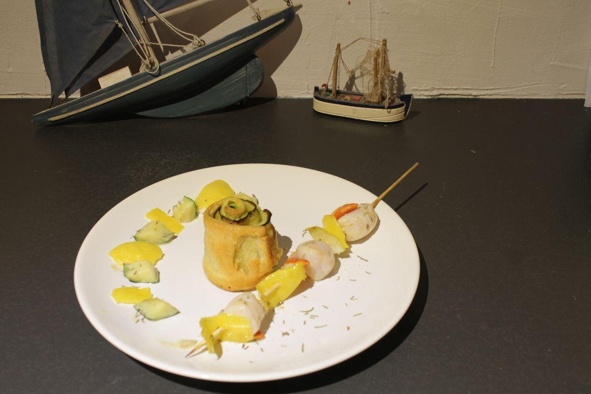 Brochettes de noix de Saint Jacques-citron-romarin