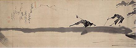 deux aveugles sur un pont   Hakuin Ekaku  ( 1686, Hara-juku -1769, Hara, Préfecture de Nagano)