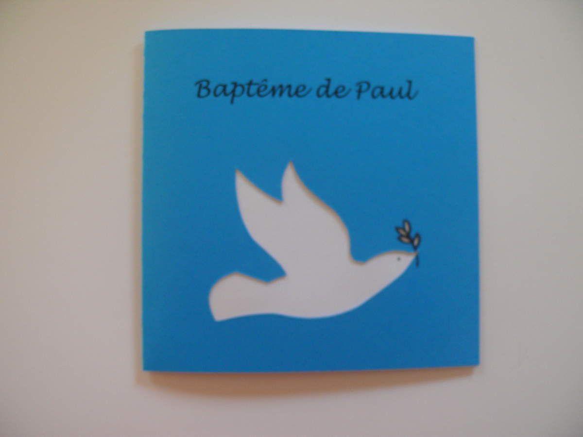 """faire-part de baptême thème """"colombe"""""""
