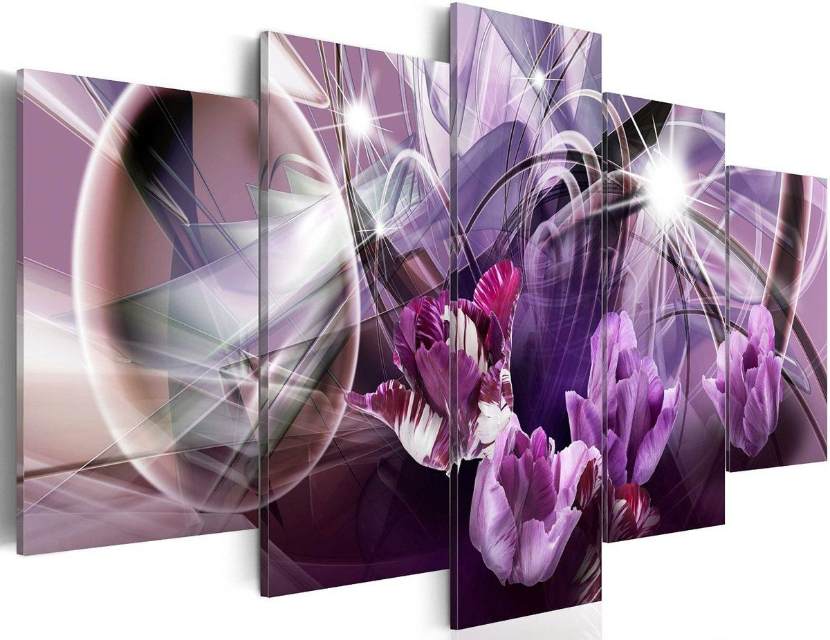 tableau fleurs abstrait ton de violet 100x50cm tableaux a coeur. Black Bedroom Furniture Sets. Home Design Ideas