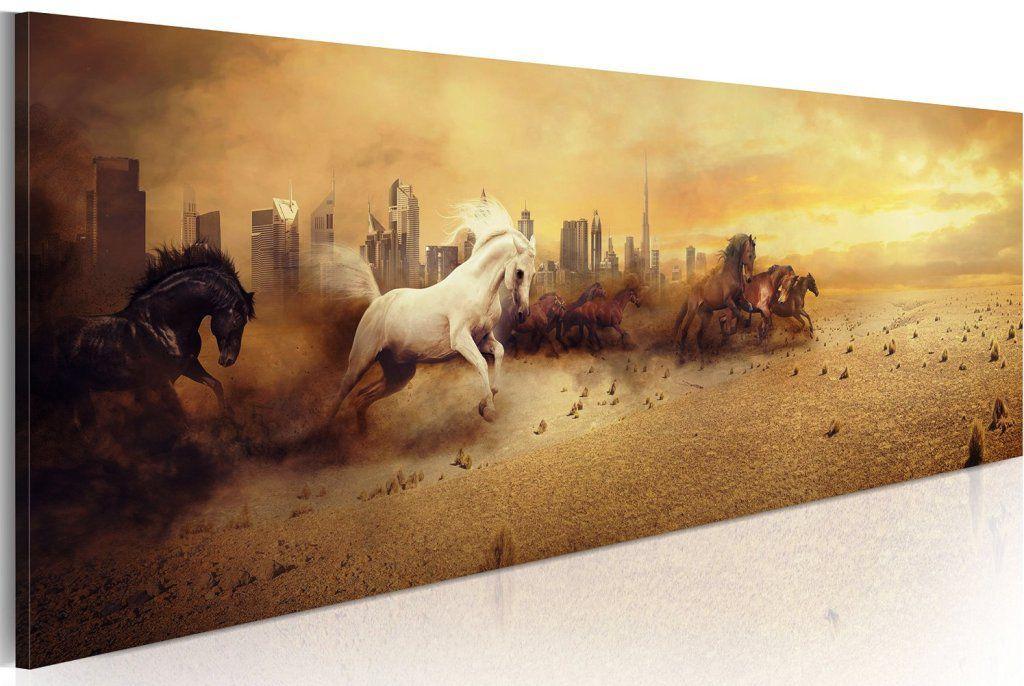 Tableau panoramique troupeau chevaux nature 120x40 tableaux a coeur - Tableau de cheval ...
