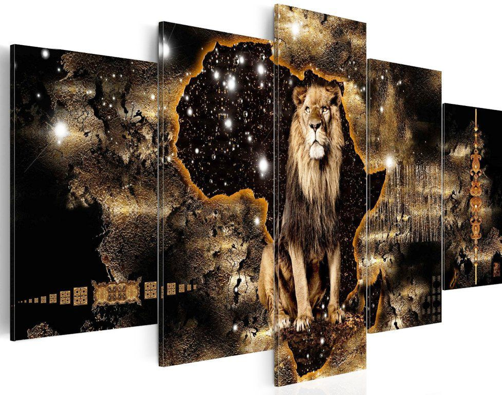 tableau lion sur fond carte afrique 100 x 50 cm tableaux a coeur. Black Bedroom Furniture Sets. Home Design Ideas