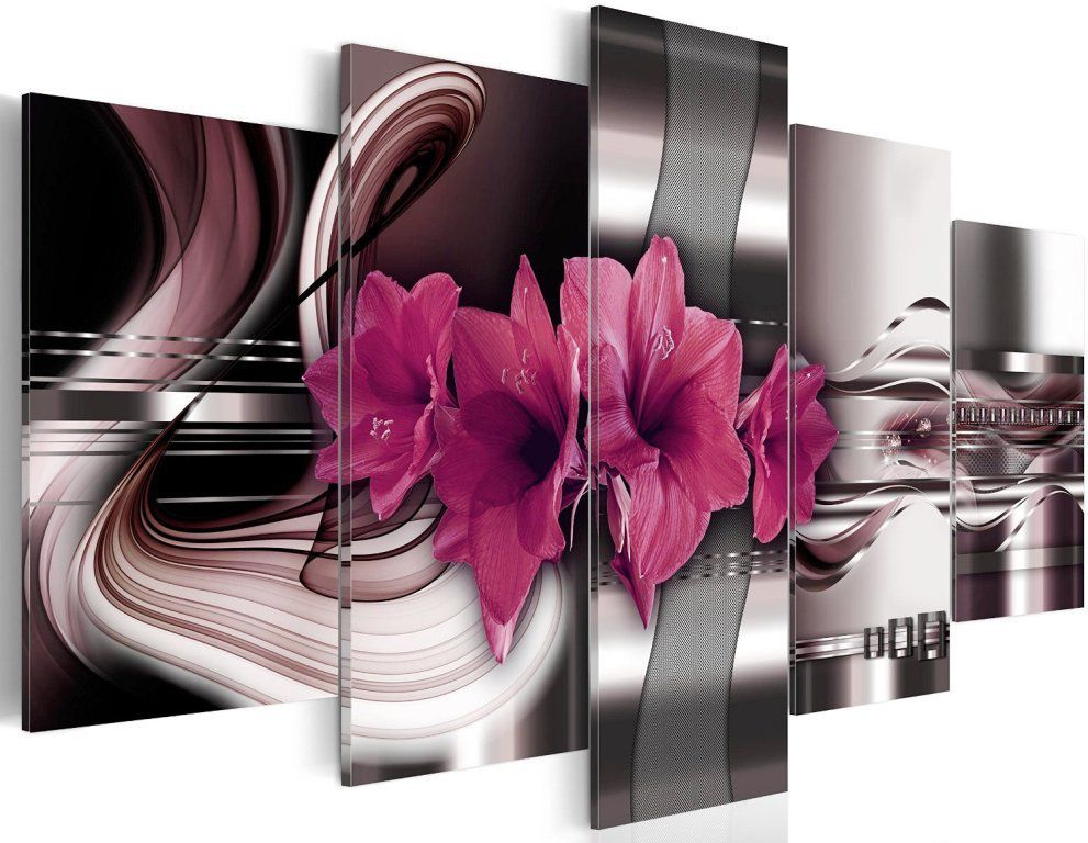 tableau 5 parties fleur amarillys 100 x 50 cm tableaux a coeur. Black Bedroom Furniture Sets. Home Design Ideas