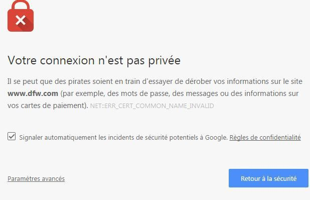 Impossibilité d'aller sur ces sites, cause tentative de piratage !