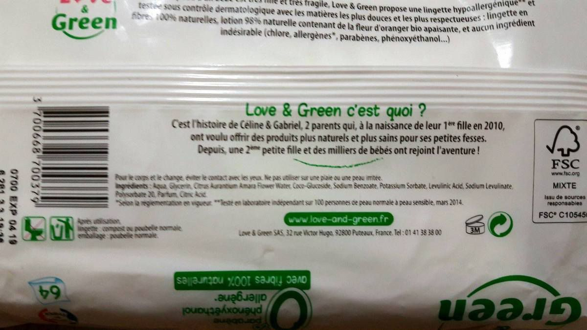 Composition des lingettes Love and Green