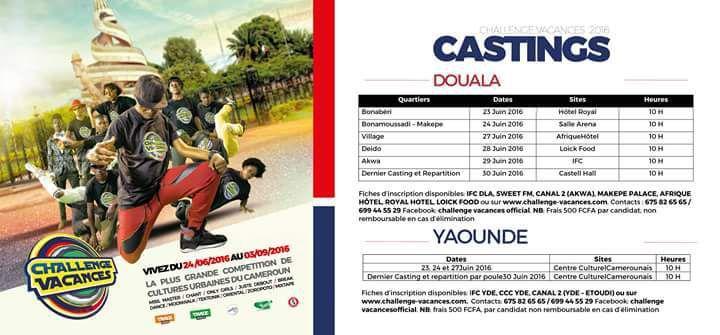 Programme des casting Douala et Yaoundé