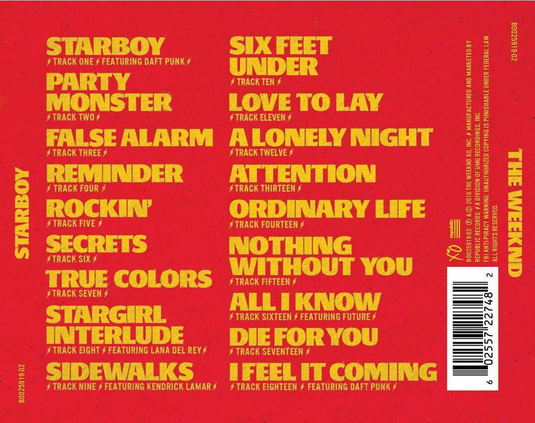 @theweeknd: TRACKLIST OFFICIELLE || 25 NOVEMBRE