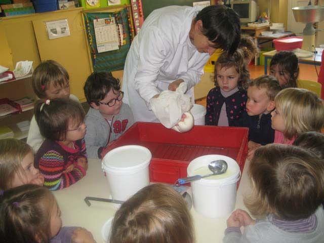 Les enfants ont accueilli Mme Brostin afin de découvrir les produits laitier ensuite ils ont eu le droit à une petite dégustation de leur préparation!
