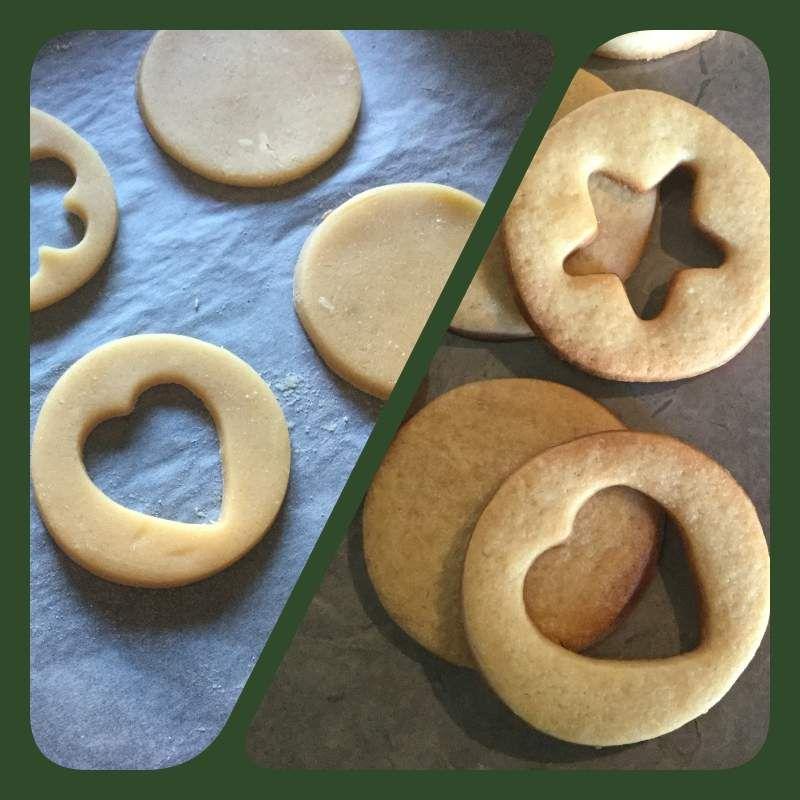 Etalez la pâte. Avec un emporte-pièce, découpez des cercles (mais vous pouvez choisir une toute autre forme). Découpez un creux au milieu de la moitié des cercles à l'aide d'un autre emporte-pièce plus petit (par exemple, j'ai utilisé ici un emporte-pièce étoile, coeur et fleur). Mettez à cuire 10 minutes au four préchauffé à 180°.