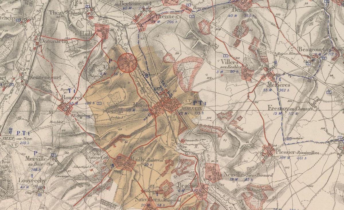 Carte spéciale des régions dévastées. 21 NE, Montdidier [Nord-Est] / [Service géographique de l'armée]