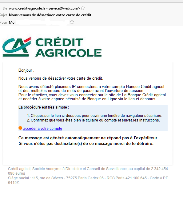 ARNAQUE PHISHING CREDIT AGRICOLE