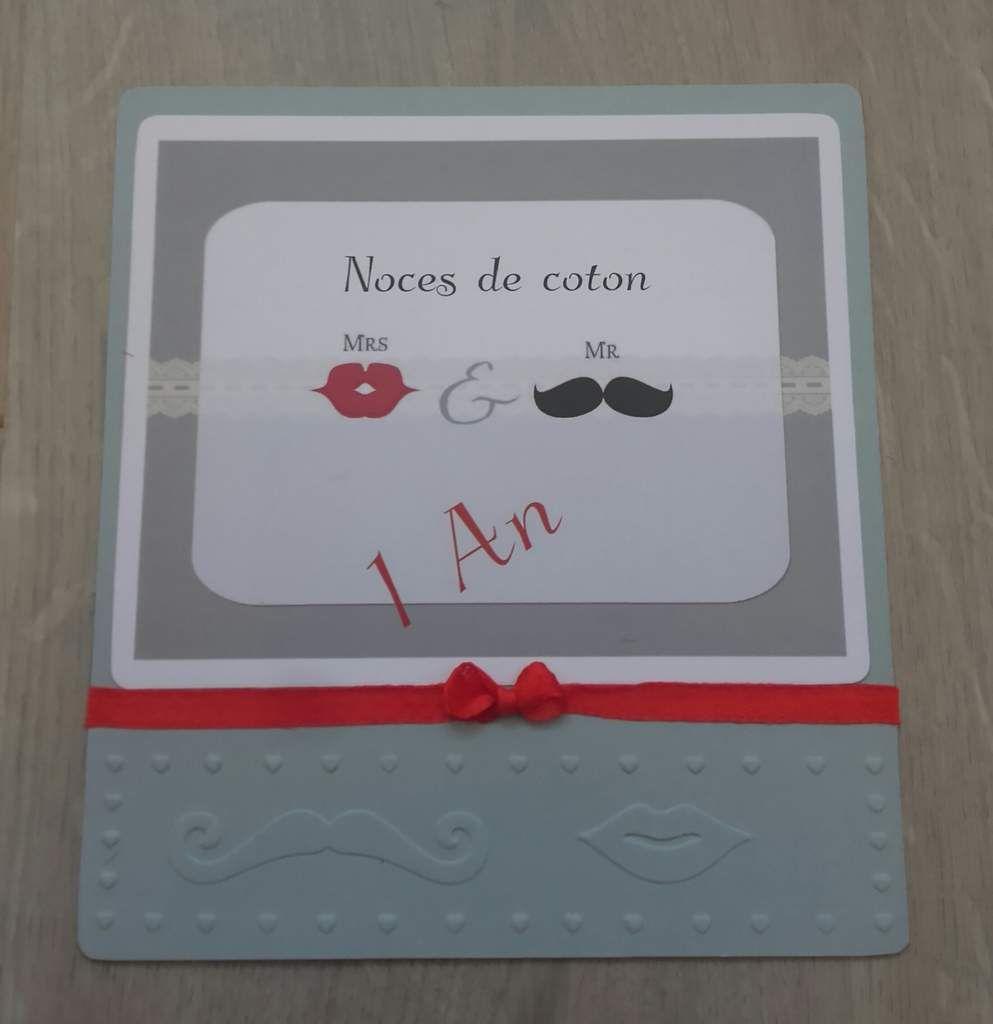 Carte 1 an de mariage (noce de coton)
