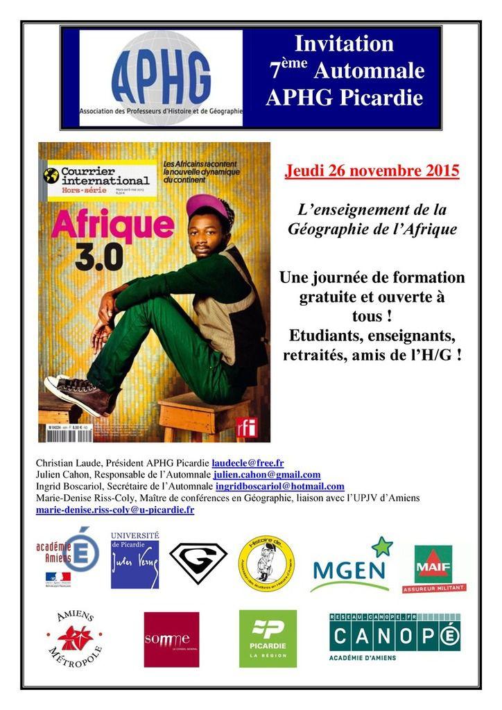 7ème automnales de l'APHG Picardie : L'enseignement de la géographie de l'Afrique