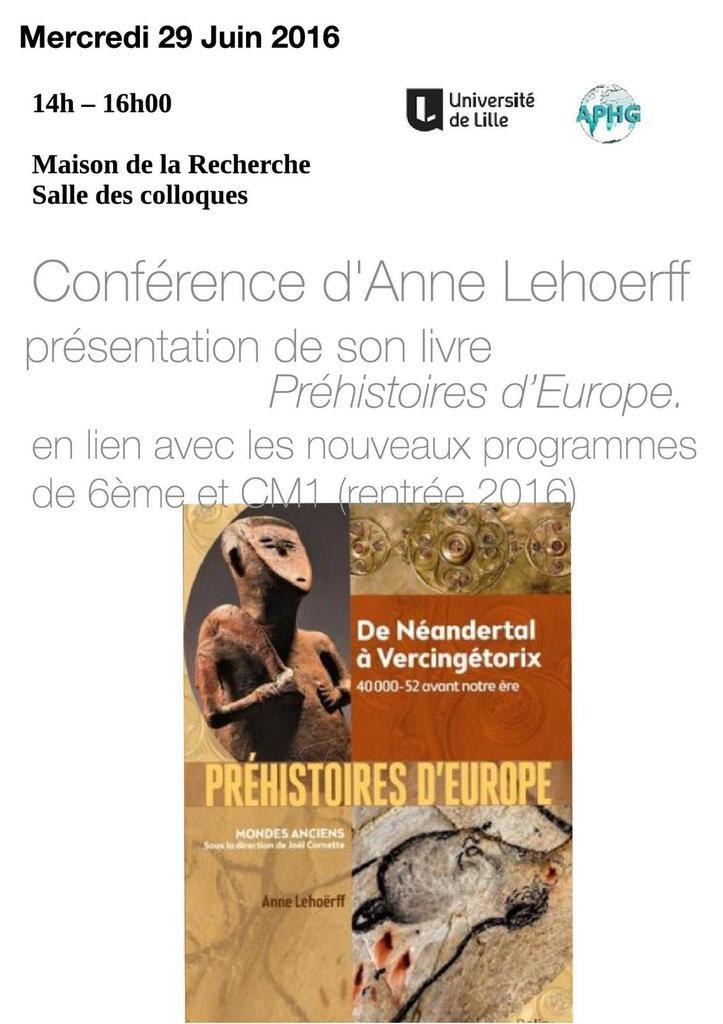 Changement de salle pour la conférence de présentation du livre d'Anne Lehoërff sur les Préhistoires d'Europe