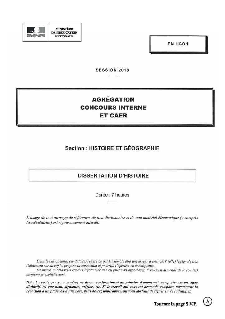 Dissertation agregation histoire geographie