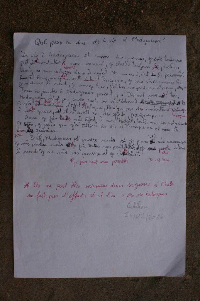 Les rédactions d'Odilon, lors des cours de français.